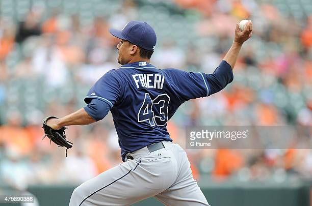 Ernesto Frieri of the Tampa Bay Rays pitches against the Baltimore Orioles at Oriole Park at Camden Yards on May 31 2015 in Baltimore Maryland
