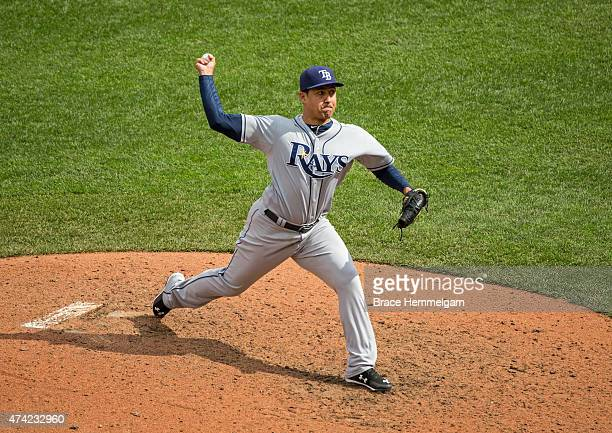Ernesto Frieri of the Tampa Bay Rays pitches against the Minnesota Twins on May 16 2015 at Target Field in Minneapolis Minnesota The Twins defeated...