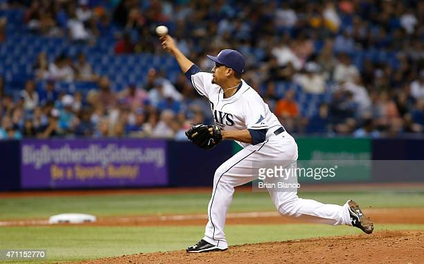 Ernesto Frieri of the Tampa Bay Rays pitches during the eighth inning against the Toronto Blue Jays on April 25 2015 at Tropicana Field in St...