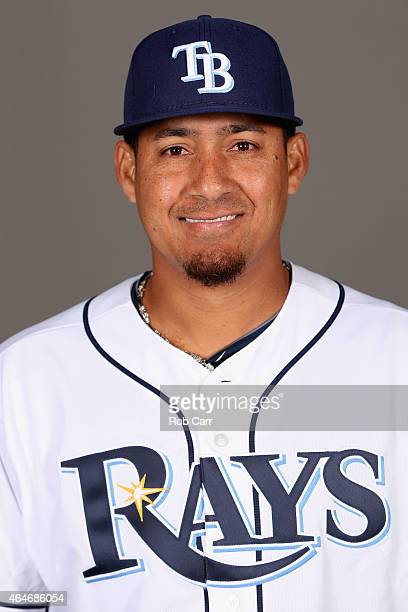 Ernesto Frieri of the Tampa Bay Rays poses for a photo on photo day at Charlotte Sports Park on February 27 2015 in Port Charlotte Florida
