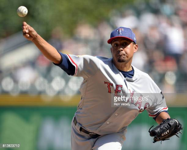 Ernesto Frieri of the Texas Rangers pitches against the Chicago White Sox on July 2 2017 at Guaranteed Rate Field in Chicago Illinois The White Sox...