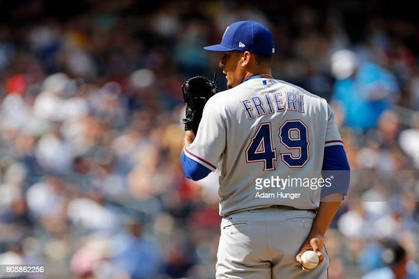 Ernesto Frieri of the Texas Rangers pitches against the New York Yankees during the sixth inning at Yankee Stadium on June 25 2017 in the Bronx...