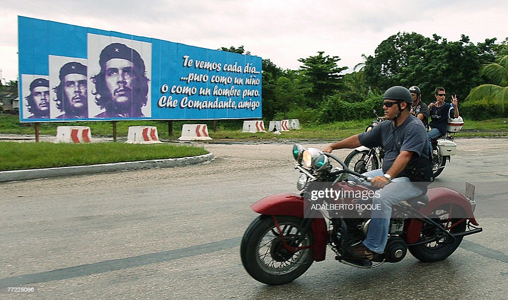 Ernesto Guevara March, the youngest son of revolutionary leader Ernesto Che Guevara, joins a group of Harley Davidson fanatics in a peregrination from Havana to the mausoleum of his father in the Cuban eastern town of Santa Clara, on October 8th, 2007, on the 40th anniversary of the revolutionary's death. For decades a global symbol of rebellion, Ernesto 'Che' Guevara is to be honored today with ceremonies in Cuba, where his myth was forged, and Bolivia, where he was executed 40 years ago spreading the gospel of Marxist revolution.