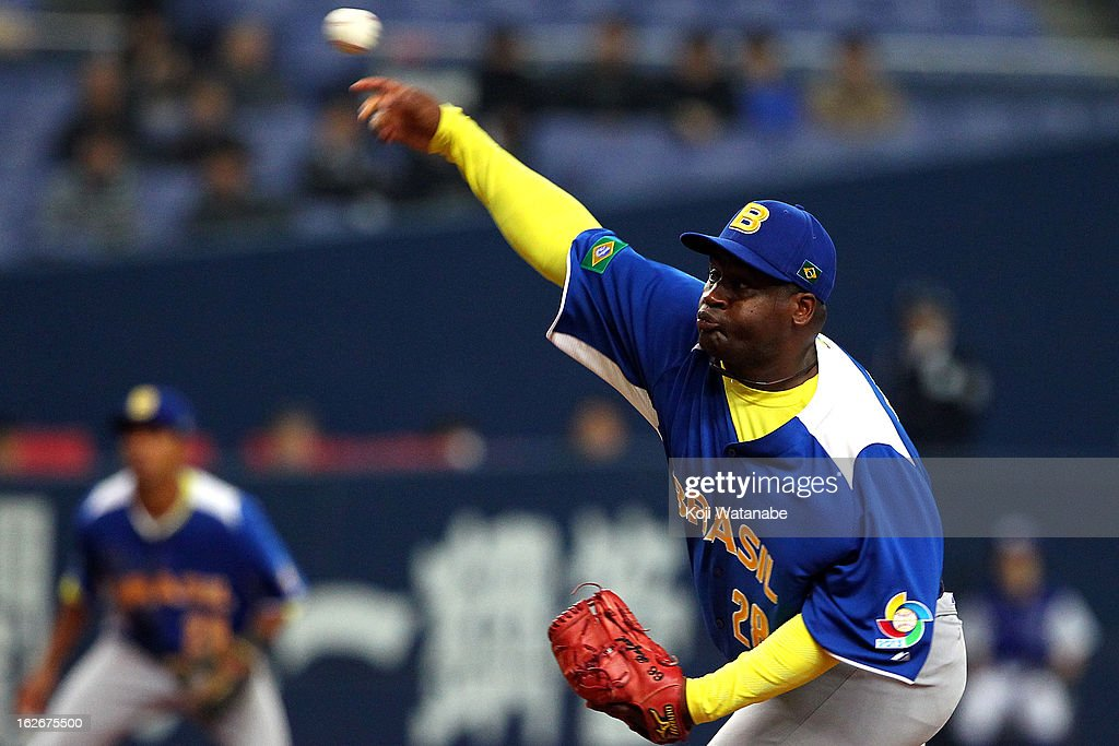 Ernesto Noris #28 of Brazil pitcher against Orix Buffaloes in the bottom half of the sixth inning during the friendly game between Orix Buffaloes and Brazil at Kyocera Dome Osaka on February 26, 2013 in Osaka, Japan.