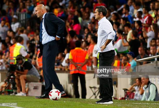 Ernesto Valverde and Zinedine Zidane during the spanish Super Cup match between FC Barcelona v Real Madrid in Barcelona on August 13 2017