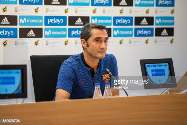 Ernesto Valverde during the last press conference before the match between FC Barcelona Real Madrid for the first leg of the Spanish Supercup held at...