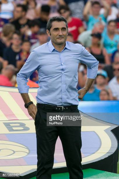 Ernesto Valverde during the match between FC Barcelona vs Chapecoense for the Joan Gamper trophy played at Camp Nou Stadium on 7th August 2017 in...