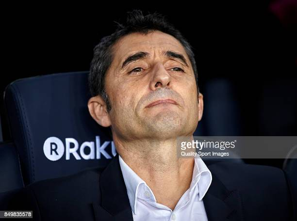 Ernesto Valverde Manager of FC Barcelona looks on prior the La Liga match between Barcelona and Eibar at Camp Nou on September 19 2017 in Barcelona...