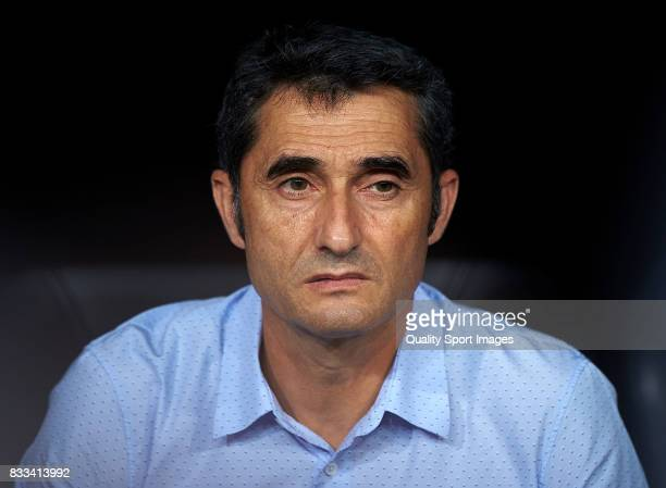 Ernesto Valverde Manager of FC Barcelona looks on prior the Supercopa de Espana Supercopa Final 2nd Leg match between Real Madrid and FC Barcelona at...