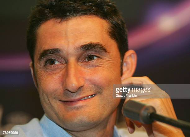Ernesto Valverde Trainer of Espanyol Barceleona looks on during the press conference of Espanyol Barcelona at the Olympic Lluis Companys Stadium on...