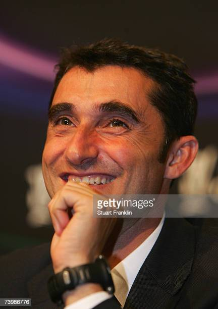 Ernesto Valverde Trainer of Espanyol Barceleona looks on during the press conference after the UEFA Cup semi final first leg match between Espanyol...