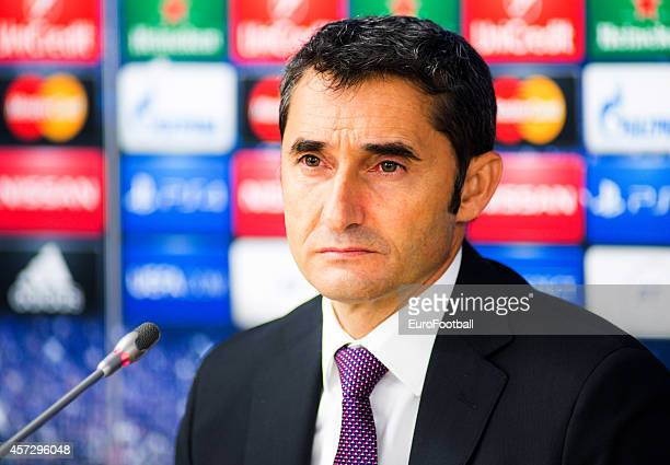 Ernesto ValverdeHead Coach of Athletic Club at a press conference after the UEFA Champions League Group H match between Bate Borisov and Athletic...