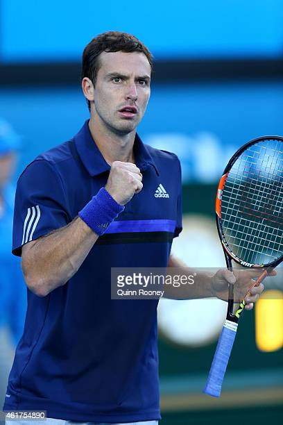 Ernests Gulbis of Latvia celebrates a point in his first round match against Thanasi Kokkinakis of Australia during day one of the 2015 Australian...
