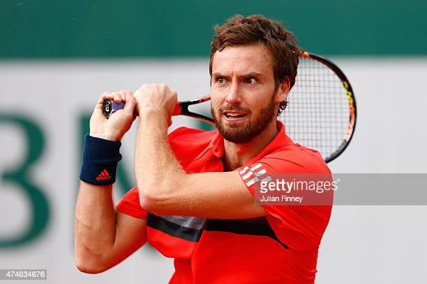 Ernests Gulbis of Latvia in action during his Men's Singles match against Igor Sijsling of Netherlands on day one of the 2015 French Open at Roland...