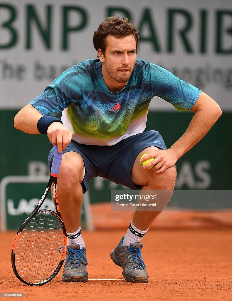 Ernests Gulbis of Latvia looks on during the Men's Singles first round match against Andreas Seppi of Italy on day three of the 2016 French Open at Roland Garros on May 24, 2016 in Paris, France.