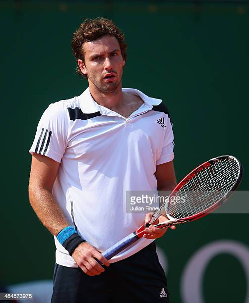 Ernests Gulbis of Latvia looks on in his match against Alexandr Dolgopolov of Ukraine during day one of the ATP Monte Carlo Rolex Masters Tennis at...