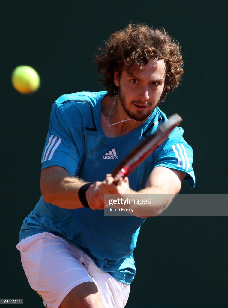 <a gi-track='captionPersonalityLinkClicked' href=/galleries/search?phrase=Ernests+Gulbis&family=editorial&specificpeople=4095282 ng-click='$event.stopPropagation()'>Ernests Gulbis</a> of Latvia plays a backhand in his match against Stanislas Wawrinka of Switzerland during day three of the ATP Masters Series at the Monte Carlo Country Club on April 14, 2010 in Monte Carlo, Monaco.