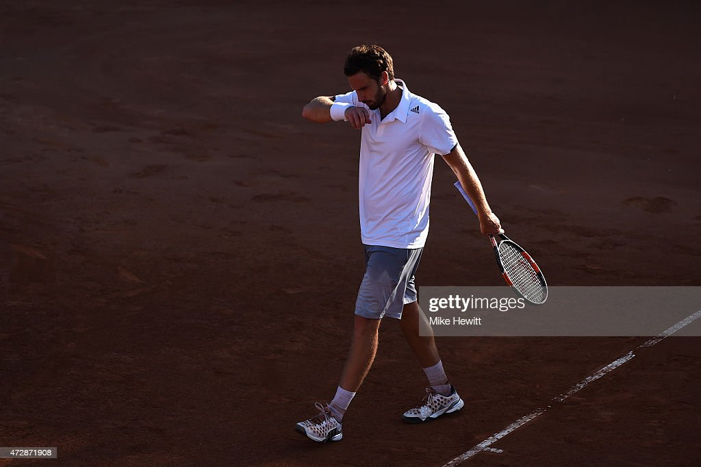 <a gi-track='captionPersonalityLinkClicked' href=/galleries/search?phrase=Ernests+Gulbis&family=editorial&specificpeople=4095282 ng-click='$event.stopPropagation()'>Ernests Gulbis</a> of Latvia reacts after losing a point during his Men's Singles First Round match against Jiri Vesely of Czech Republic during Day One of the The Internazionali BNL d'Italia 2015 at the Foro Italico on May 10, 2015 in Rome, Italy.