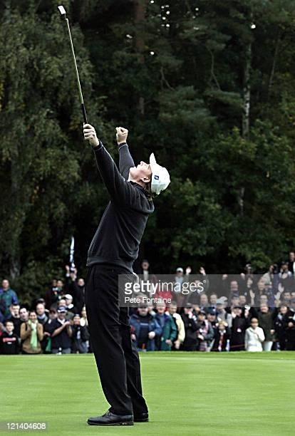 Ernie Els celebrates after winning the final match of the HSBC World Matchplay Championship held at Wentworth Golf Club's West Course October 17 2004
