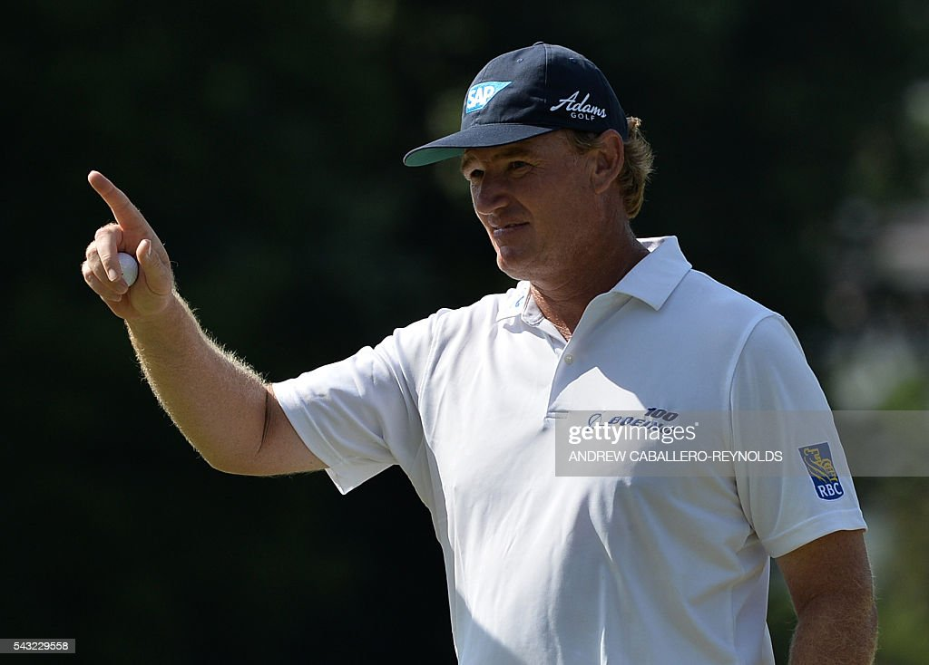 Ernie Els gestures during the Quicken Loans National at Congressional Country Club in Bethesda, Maryland on June 26, 2016. / AFP / ANDREW