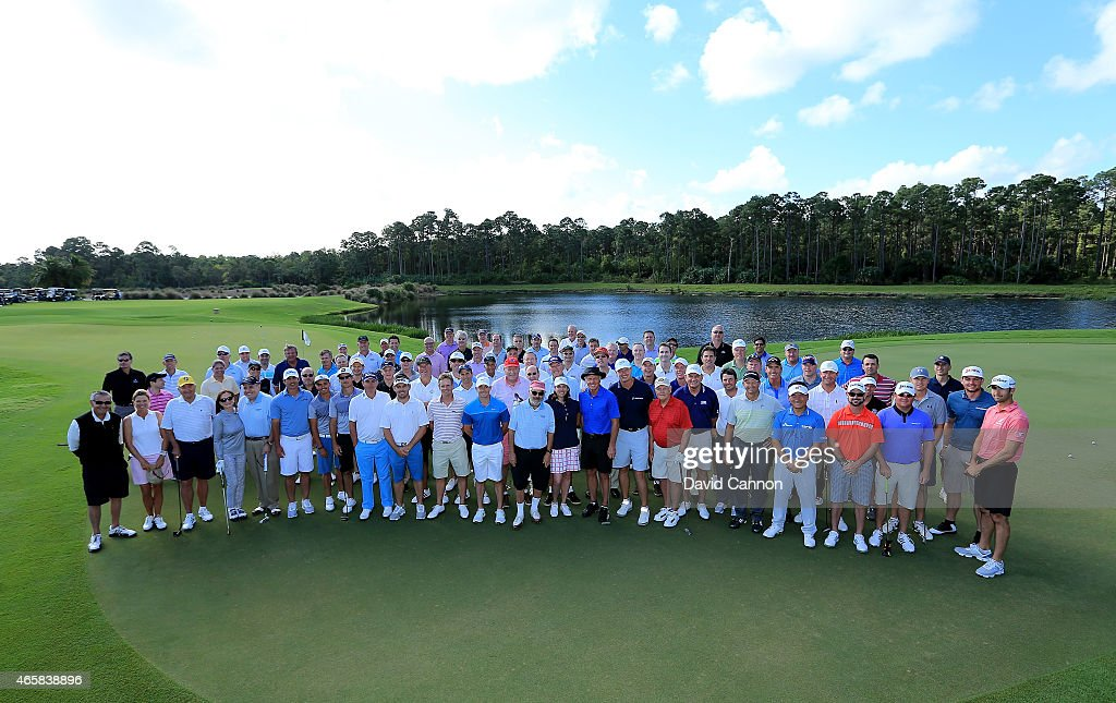 Ernie Els of South Africa and Marvin Shanken the co- hosts are joined by fellow PGA professionals including Jack Nicklaus, Greg Norman, Rickie Fowler, Jordan Spieth, Nick Price, Rory Mcilroy, Luke Donald, Keegan Bradley, Retief Goosen, Will McGirt, Louis Oosthuizen, Ryamond Floyd, K.J.Choi, Will Mackenzie, Thomas Aiken, Rory Sabbatini, Brooks Koepka, Lucas Glover, Jason Dufner, Ian Baker-Finch and the other competitors for a group picture before teeing off during the Ernie Els Els for Autism pro-am at Old Palm Golf Club on March 9, 2015 in West Palm Beach, Florida.