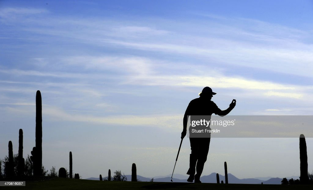 Ernie Els of South Africa celebrates on the first play off hole during the second round of the World Golf Championships - Accenture Match Play Championship at The Golf Club at Dove Mountain on February 20, 2014 in Marana, Arizona.