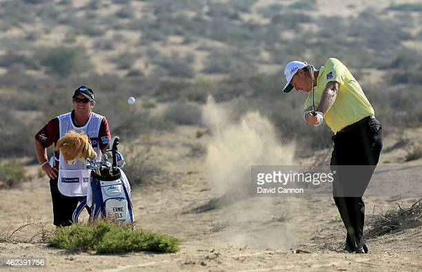 Ernie Els of South Africa during the ProAm as a preview for the 2015 Dubai Desrt Classic on the Majlis Course at the Emirates Golf Club on January 28...