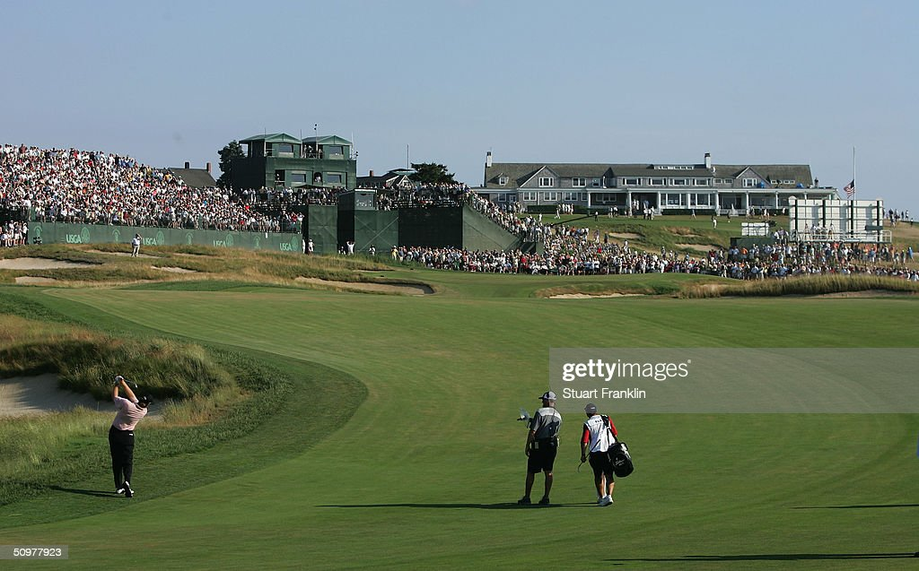 Ernie Els of South Africa hits a shot on the 16th hole during the third round the 104th US Open at Shinnecock Hills Golf Club on June 19 2004 in...