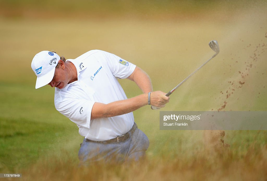 Ernie Els of South Africa hits a shot on the 5th hole during the first round of the 142nd Open Championship at Muirfield on July 18, 2013 in Gullane, Scotland.