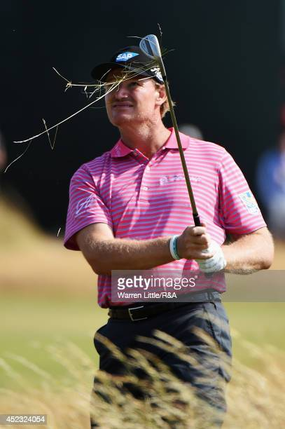 Ernie Els of South Africa hits a shot to the fifth green during the second round of The 143rd Open Championship at Royal Liverpool on July 18 2014 in...