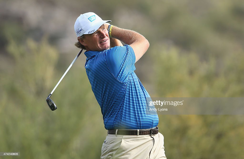 Ernie Els of South Africa hits a tee shot on the 16th hole during the quarterfinal round of the World Golf Championships - Accenture Match Play Championship at The Golf Club at Dove Mountain on February 22, 2014 in Marana, Arizona.