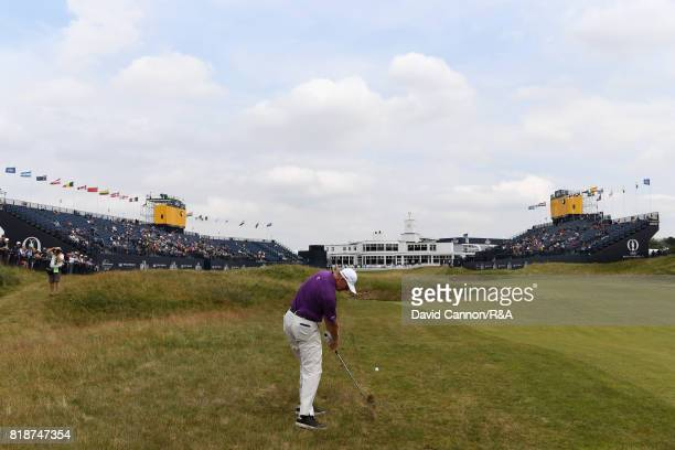 Ernie Els of South Africa hits an approach to the 18th green during a practice round prior to the 146th Open Championship at Royal Birkdale on July...