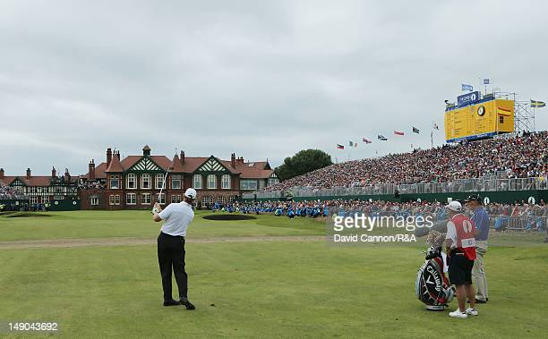 Ernie Els of South Africa hits his 2nd shot on the 18th hole during the final round of the 141st Open Championship at Royal Lytham St Annes Golf Club...