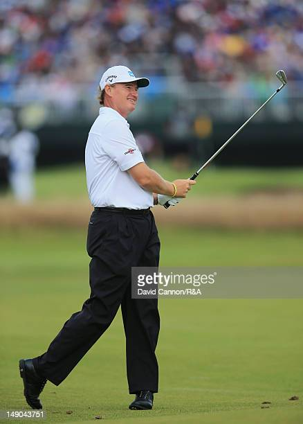 Ernie Els of South Africa hits his approach shot on the 17th hole during the final round of the 141st Open Championship at Royal Lytham St Annes Golf...