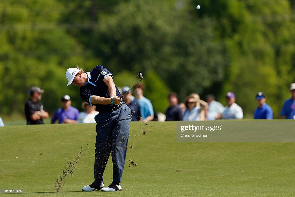 Ernie Els of South Africa hits his second shot on the 13th hole during the third round of the Zurich Classic of New Orleans at TPC Louisiana on April 27, 2013 in Avondale, Louisiana.