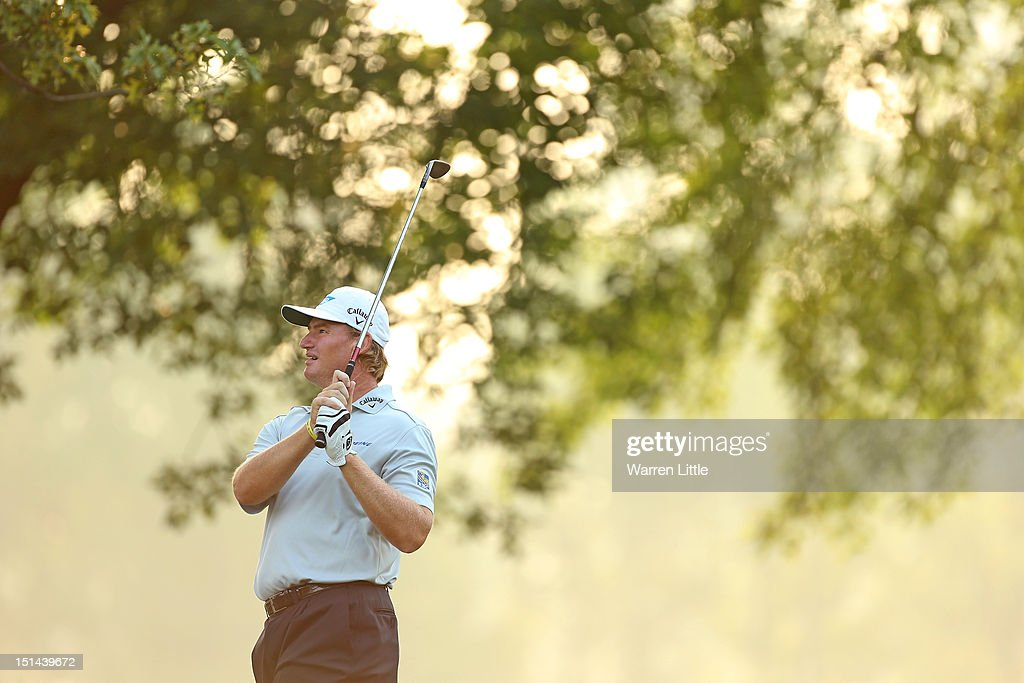 <a gi-track='captionPersonalityLinkClicked' href=/galleries/search?phrase=Ernie+Els&family=editorial&specificpeople=162688 ng-click='$event.stopPropagation()'>Ernie Els</a> of South Africa hits his second shot on the first hole during the second round of the BMW Championship at Crooked Stick Golf Club on September 7, 2012 in Carmel, Indiana.