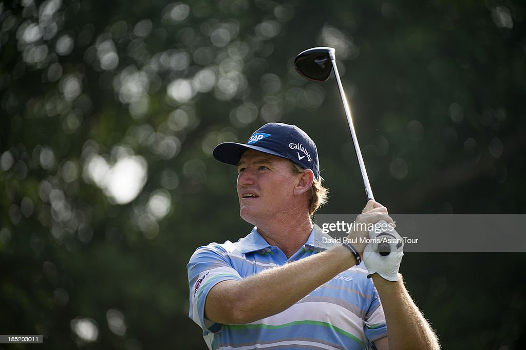 <a gi-track='captionPersonalityLinkClicked' href=/galleries/search?phrase=Ernie+Els&family=editorial&specificpeople=162688 ng-click='$event.stopPropagation()'>Ernie Els</a> of South Africa hits his tee shot on the 16th hole during round two of the Venetian Macau Open on October 18, 2013 at the Macau Golf & Country Club in Macau. The Asian Tour tournament offers a record US$ 800,000 prize money which goes through October 20.
