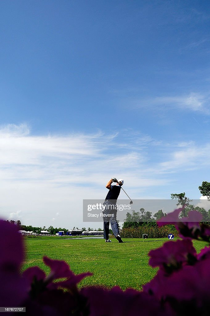 Ernie Els of South Africa hits his tee shot on the 18th hole during the third round of the Zurich Classic of New Orleans at TPC Louisiana on April 27, 2013 in Avondale, Louisiana.