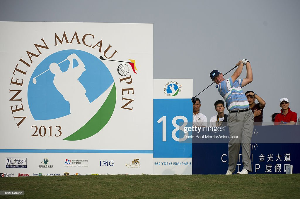 Ernie Els of South Africa hits his tee shot on the 18th hole during round two of the Venetian Macau Open on October 18, 2013 at the Macau Golf & Country Club in Macau. The Asian Tour tournament offers a record US$ 800,000 prize money which goes through October 20.