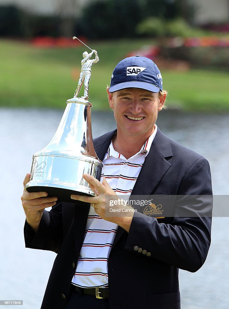 Ernie Els of South Africa holds the trophy after the completion of the final round of the Arnold Palmer Invitational presented by Mastercard at the Bayhill Club and Lodge, on March 29, 2010 in Orlando, Florida.