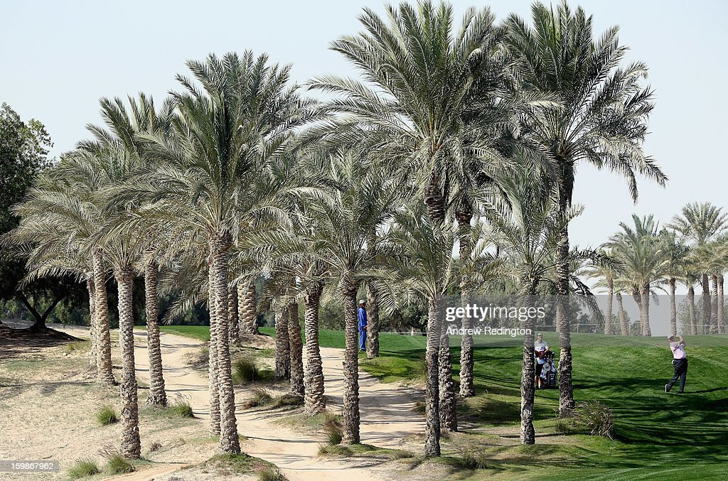 Ernie Els of South Africa in action during the Pro Am prior to the start of the Commercial Bank Qatar Masters held at Doha Golf Club on January 22, 2013 in Doha, Qatar.