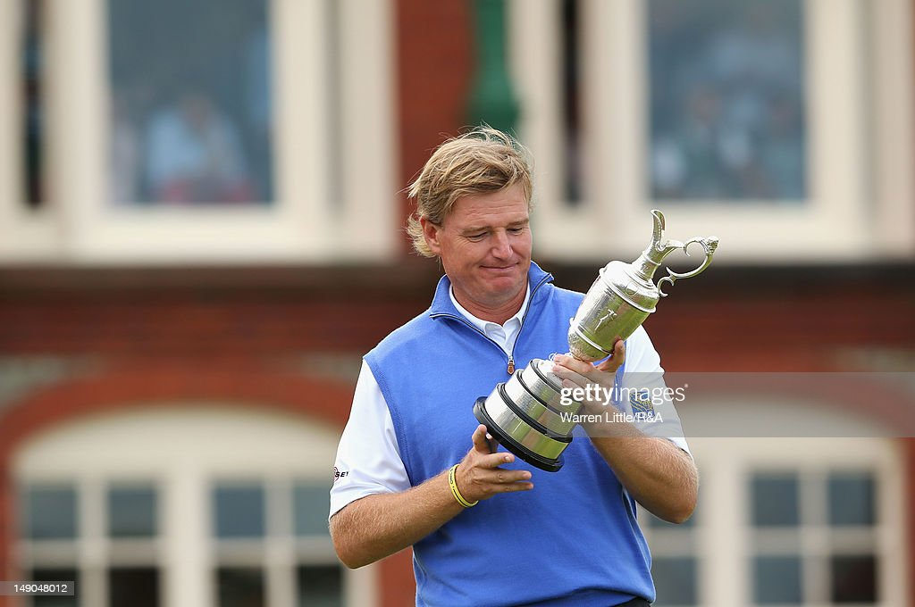 <a gi-track='captionPersonalityLinkClicked' href=/galleries/search?phrase=Ernie+Els&family=editorial&specificpeople=162688 ng-click='$event.stopPropagation()'>Ernie Els</a> of South Africa inspects the Claret Jug following his victory during the final round of the 141st Open Championship at Royal Lytham & St. Annes Golf Club on July 22, 2012 in Lytham St Annes, England.