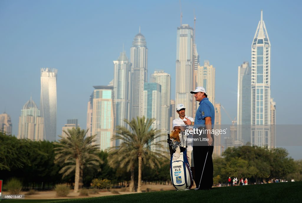 Ernie Els of South Africa is pictured on the 10th hole during the second round of the 2014 Omega Dubai Desert Classic on the Majlis Course at the Emirates Golf Club on January 31, 2014 in Dubai, United Arab Emirates.