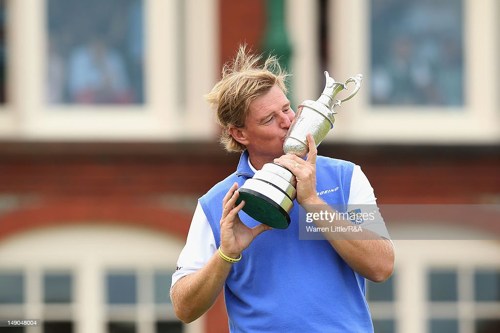 <a gi-track='captionPersonalityLinkClicked' href=/galleries/search?phrase=Ernie+Els&family=editorial&specificpeople=162688 ng-click='$event.stopPropagation()'>Ernie Els</a> of South Africa kisses the Claret Jug following his victory during the final round of the 141st Open Championship at Royal Lytham & St. Annes Golf Club on July 22, 2012 in Lytham St Annes, England.