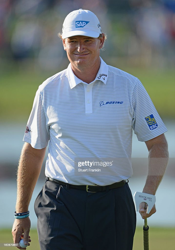 Ernie Els of South Africa looks happy during the first round of the Honda Classic on February 28, 2013 in Palm Beach Gardens, Florida.