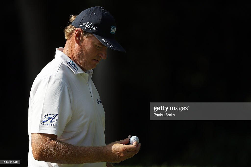<a gi-track='captionPersonalityLinkClicked' href=/galleries/search?phrase=Ernie+Els&family=editorial&specificpeople=162688 ng-click='$event.stopPropagation()'>Ernie Els</a> of South Africa looks on after putting on the 13th green during the final round of the Quicken Loans National at Congressional Country Club on June 26, 2016 in Bethesda, Maryland.
