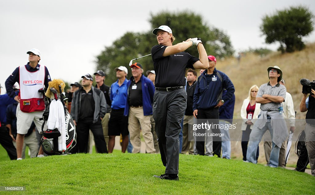 <a gi-track='captionPersonalityLinkClicked' href=/galleries/search?phrase=Ernie+Els&family=editorial&specificpeople=162688 ng-click='$event.stopPropagation()'>Ernie Els</a> of South Africa makes a shot out of the rough on the eight hole during round two of the Frys.com Open at the CordeValle Golf Club on October 12, 2012 in San Martin, California.