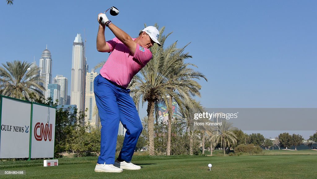 Ernie Els of South Africa on the tee of the par four 16th hole during the second round of the Omega Dubai Desert Classic on the Majlis course at the...