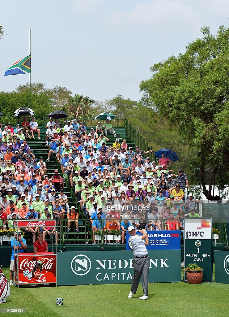 Ernie Els of South Africa plays a shot during the final round of the Nedbank Golf Challenge at Gary Player CC on December 8, 2013 in Sun City, South Africa.