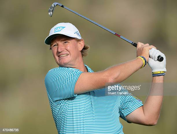 Ernie Els of South Africa plays a shot during the first round of the World Golf Championships Accenture Match Play Championship at The Golf Club at...